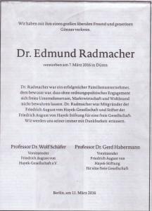 Traueranzeige Dr. Radmacher